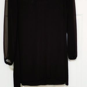 Express black swing dress with sheer sleeves